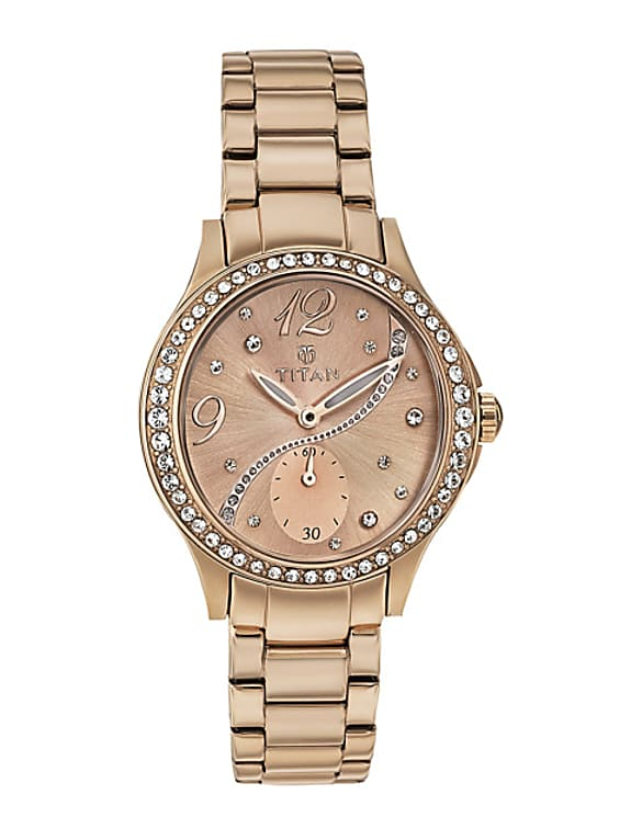 women rose gold-toned dial embellished watch