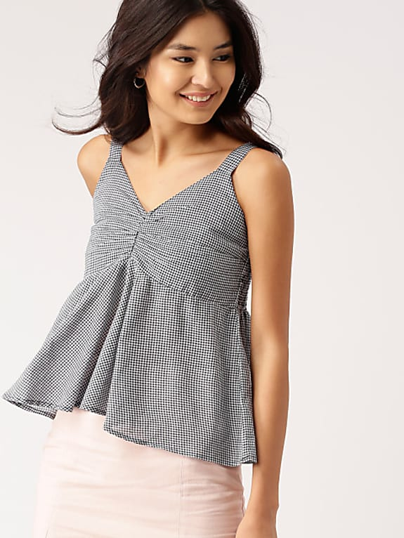 go for  women navy blue & white checked top