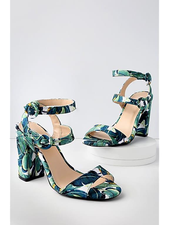green multi leaf print ankle strap heels