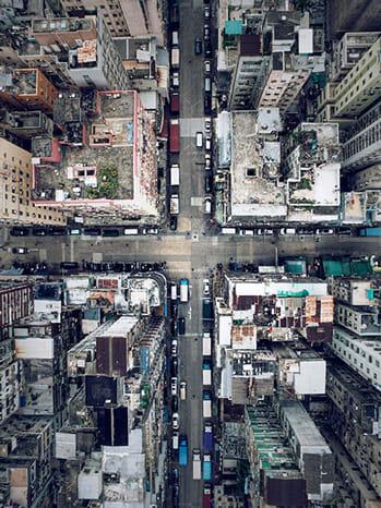 Blick auf Hochhäuser von oben