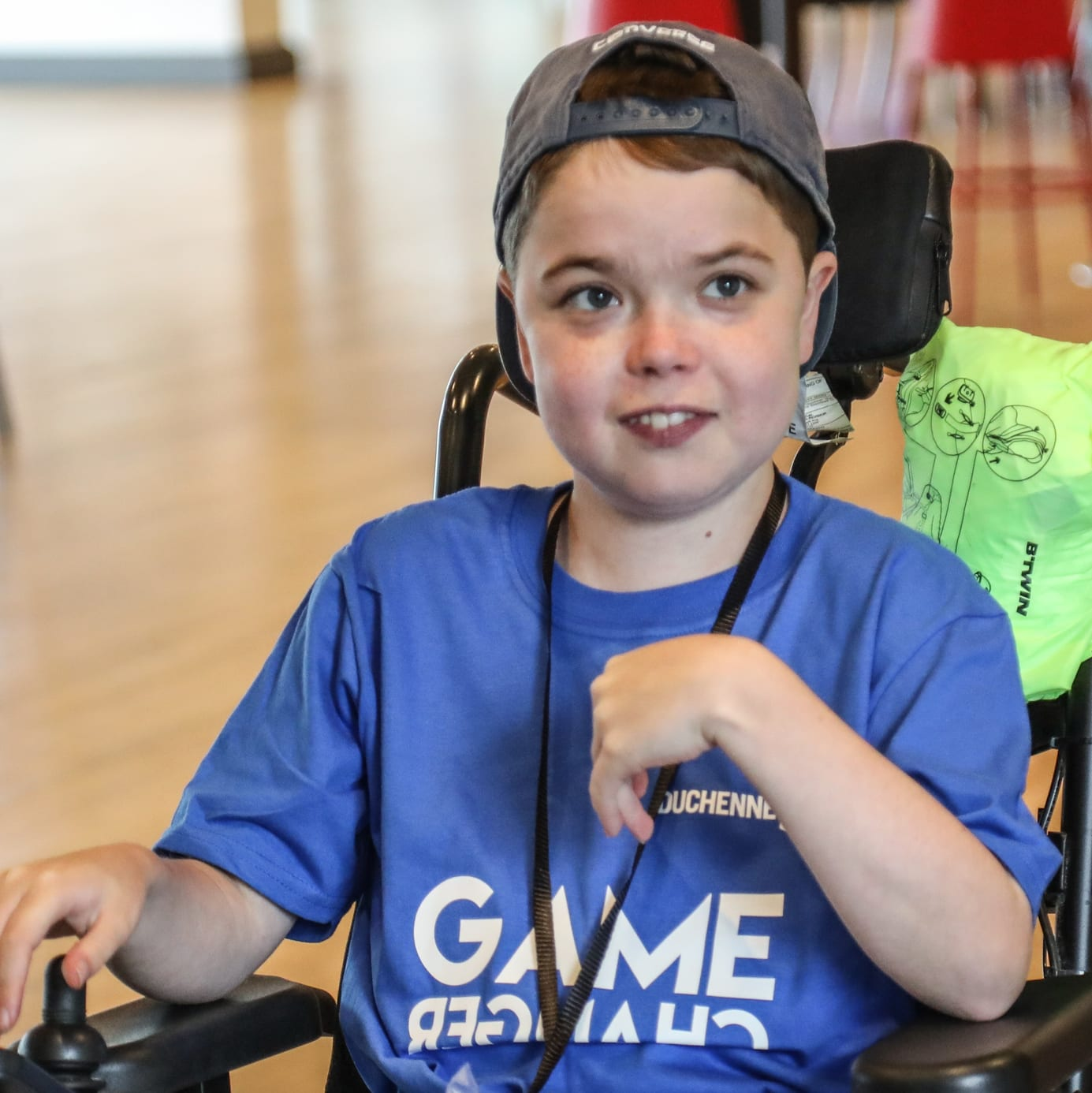 A boy with DMD taking part in a Duchenne UK gaming day