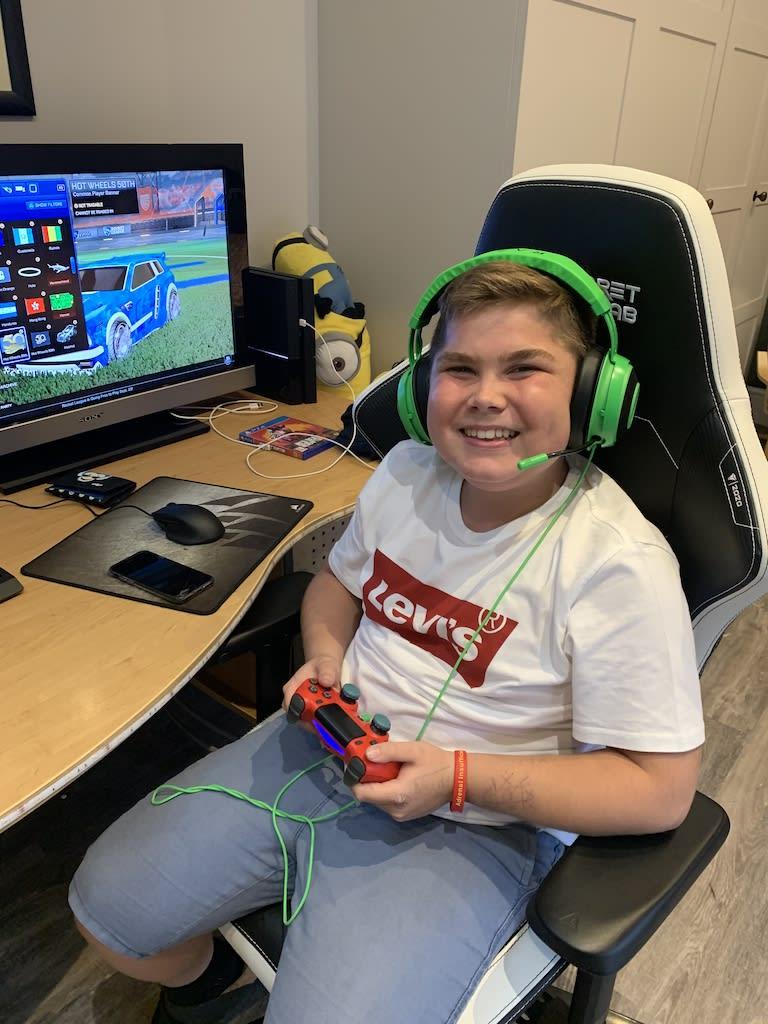 Alex aged 14 gaming