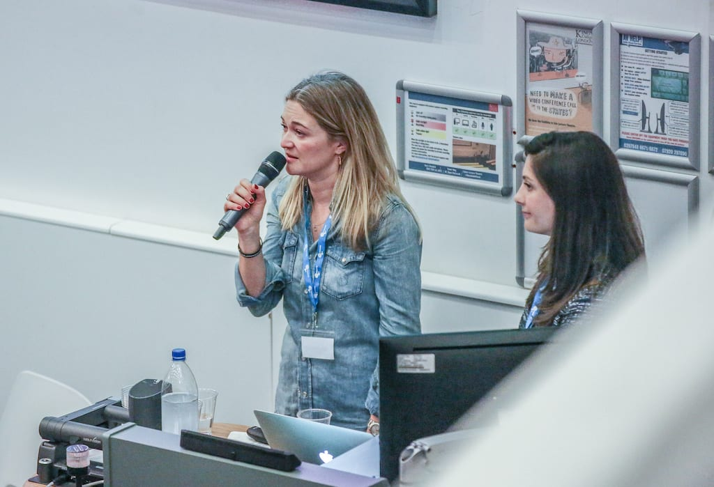 CEO Emily Crossley speaking at Duchenne UK Patient Information Day in 2019
