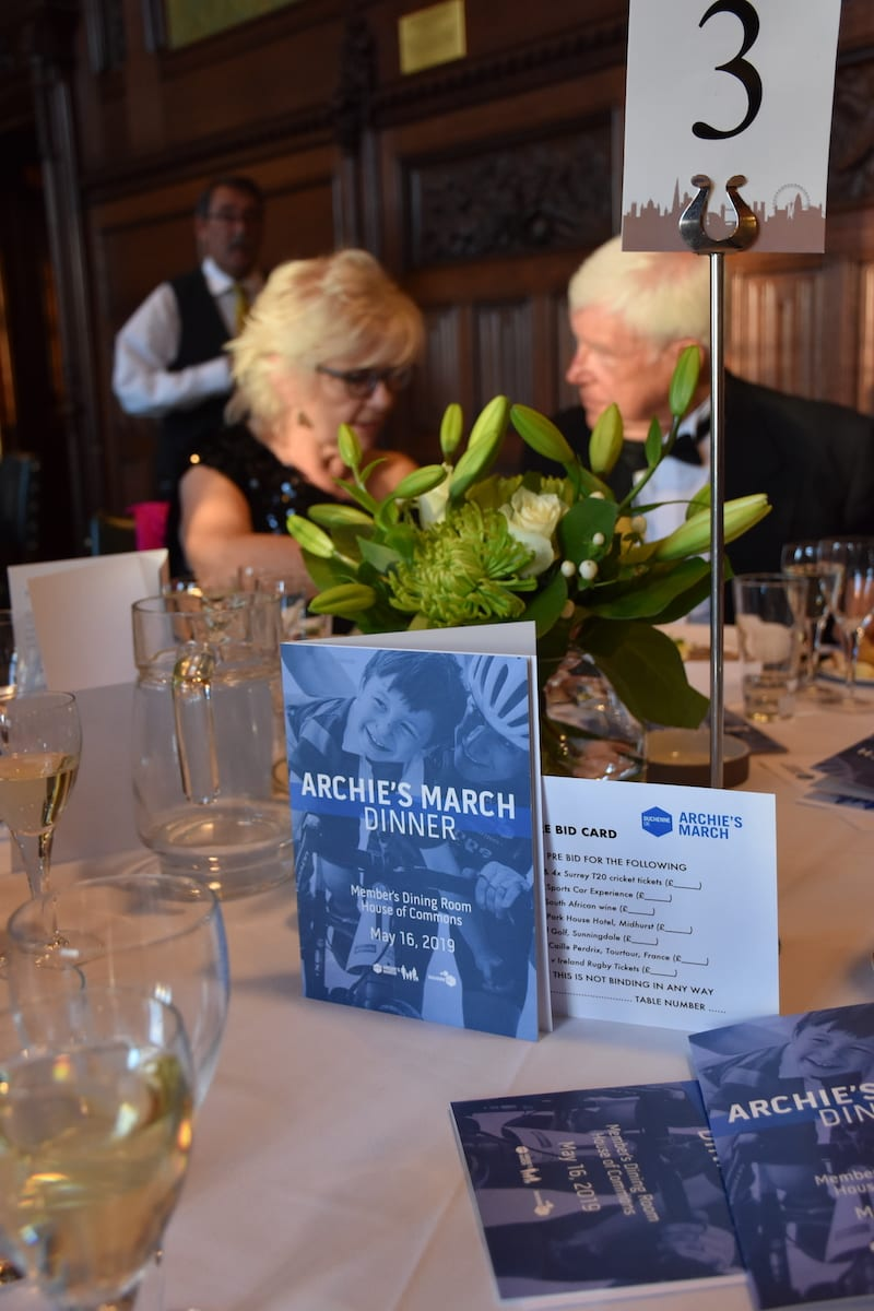 Table decor on a table at Archie's March dinner 2019