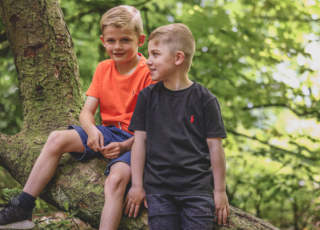 Louis and his brother Jenson playing in a tree