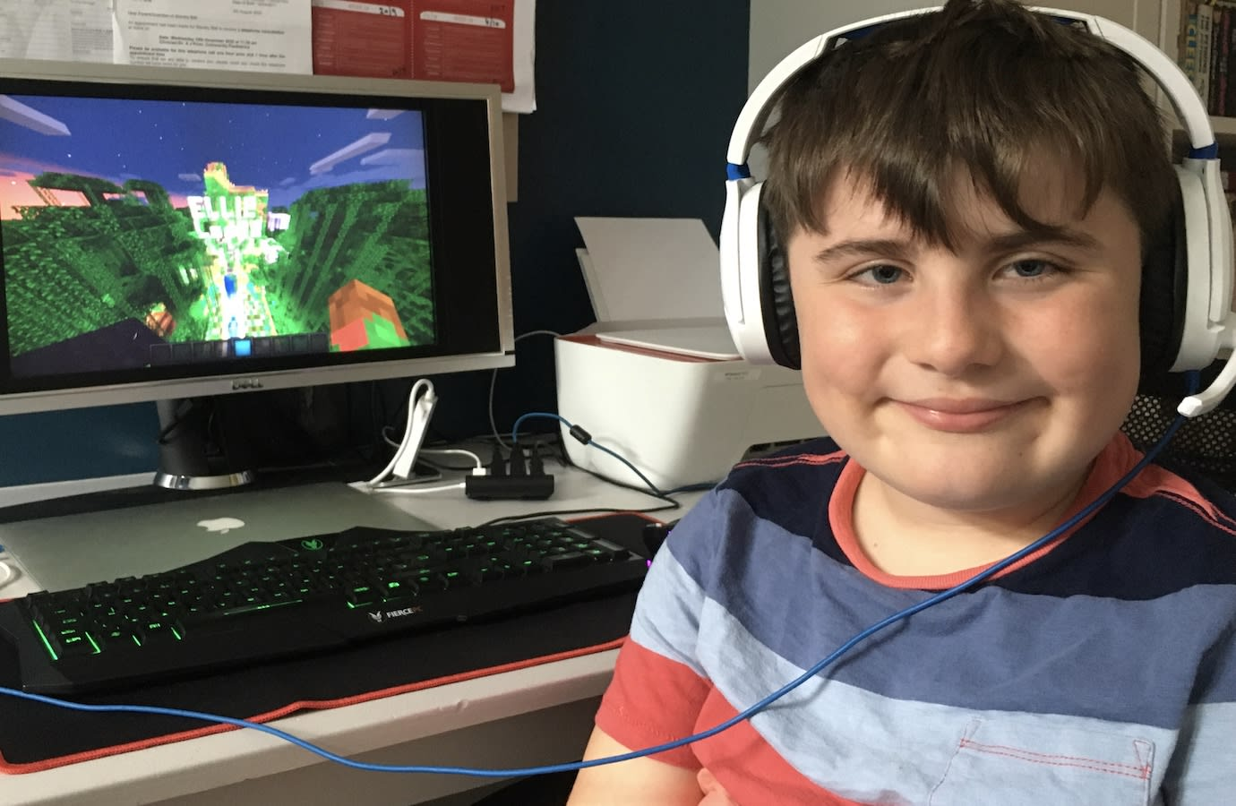 Stanley with his winning build from the 2020 Minecraft Competition hosted by Duchenne UK