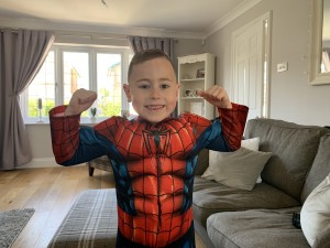 Archie from Family Fund Archie's Army in a spiderman costume