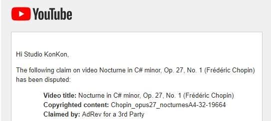 YouTube Copyright Screenshot