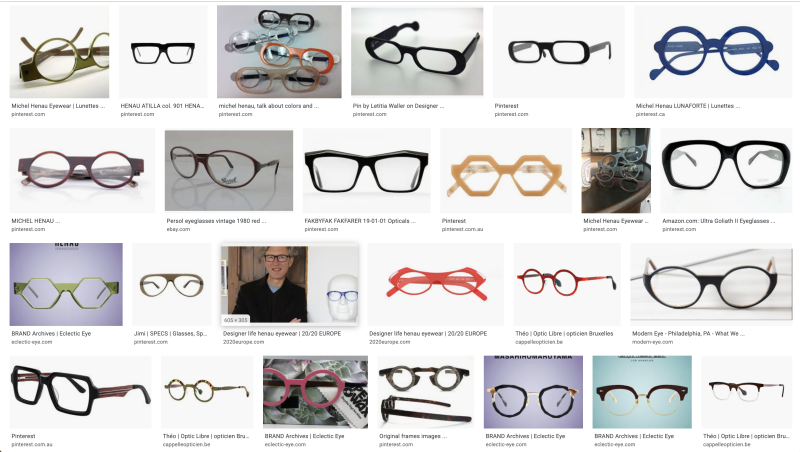 Bidules - Glasses - Object vintage frames by Michel Henau - Archive google view