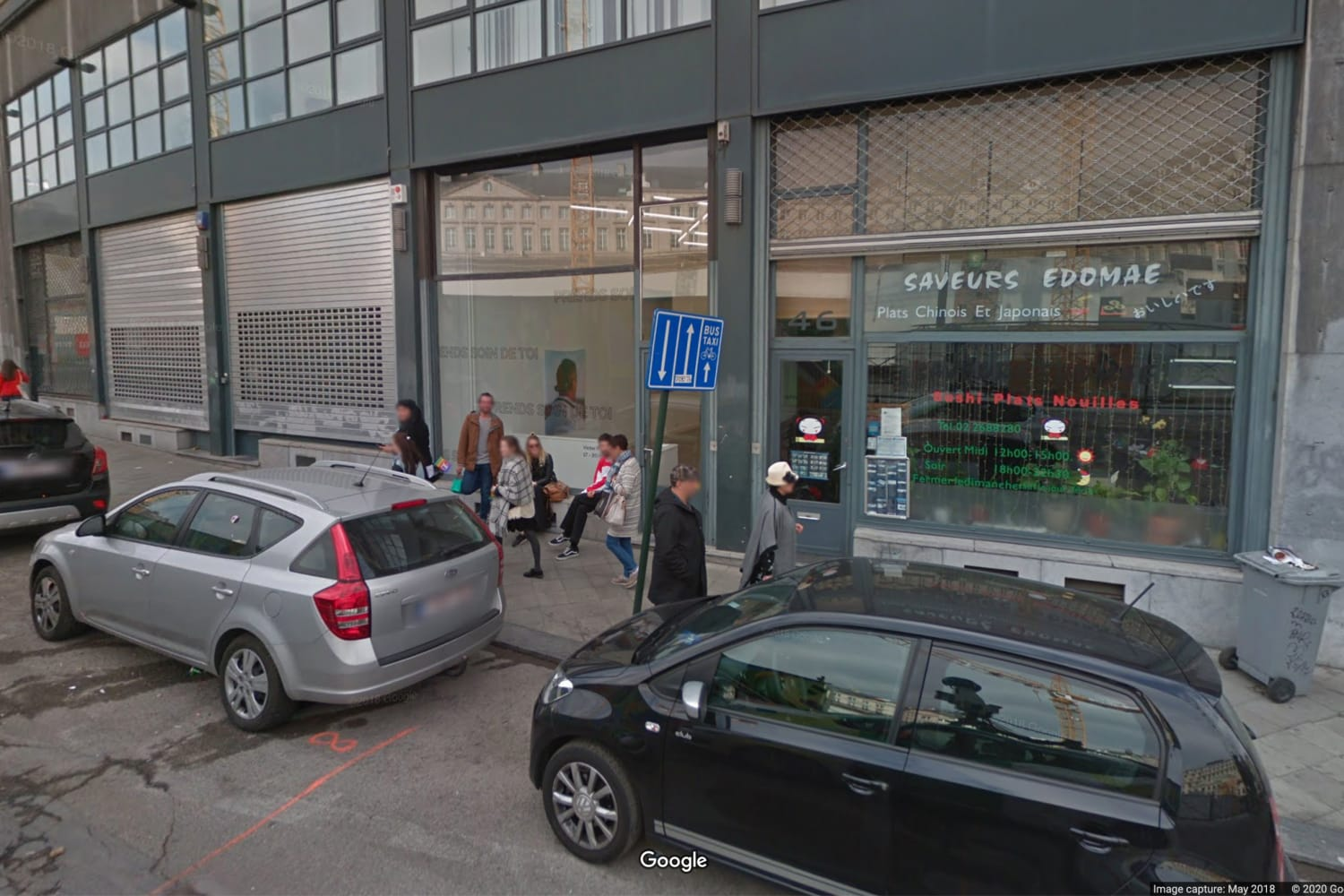 A view from Bidules Rue Ravenstein Bruxelles on Google Maps back, May 2018, Victor Pattyn is installing its exhibition