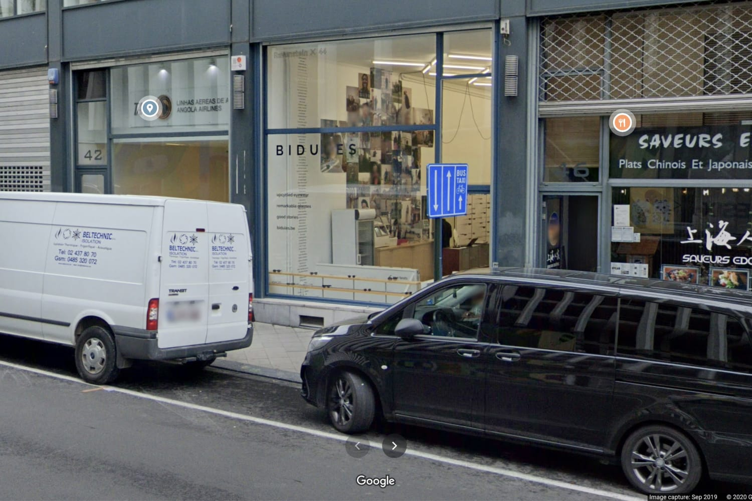 A view from Bidules glasses store Rue Ravenstein Bruxelles on Google Maps back in 2020