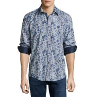 English LaundryRose-Print Sport Shirt, Blue