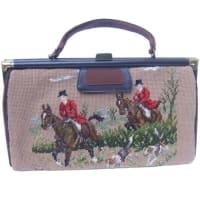 1stdibs1950s Rare Needlepoint Fox Hunt Dual Sided Large Handbag
