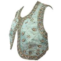 1stdibs1960s Dynasty For I. Magnin Beaded And Stoned Aqua Silk Shantung Bolero Vest