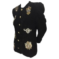 1stdibs1980s Black Ruched Velvet Evening Jacket W Sequin And Bead Appliqué Medallions