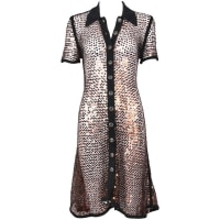 Jean Paul Gaultier1990s Jean-paul Gaultier Copper Sequin Short-sleeved Sheer Dress