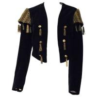1stdibs20s Black Velvet Matador Bolero Jacket With Gold Metal Tassels & Embroider