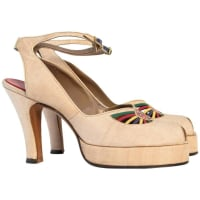 1stdibs40s Platform Ankle Strap Heels With Colorful Leather & Studded Embellishments