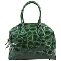 AlaiaGlossy Green Embossed Patent Leather Structured Double Handle Tote Bag