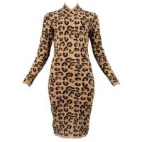 AlaiaAlaia Leopard Print V-neck Dress 1991-1992