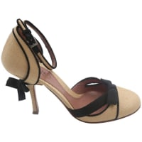 AlaiaLinen And Black Maryjane Shoes With Bow Detail