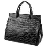 AlaiaNew Black Leather Silver Metal Embellish Large Shopper Top Handle Tote Bag