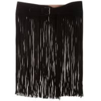 AlaiaNew Black Suede Leather Silver Buckle Fringe Skirt Accessory Waist Belt