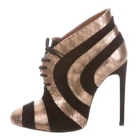 AlaiaNew & Sold Out Gold Leather Black Suede Geometric Heels Ankle Boots In Box
