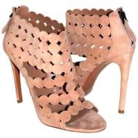 AlaiaAlaïa Pumps Amazing Cutout Suede Sandals Antique-rose Sz 39