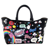 Anya HindmarchBlack Leather Allover Sticker Tote- Ebury Circus