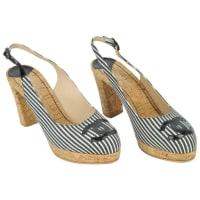 1stdibsChanel 2010 Black & White Stripe Cork Platform Heels Bl Patent Cc Size 40 1/2