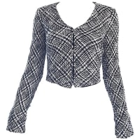 1stdibsChic Vintage Agnes B 1990s Black And White 90s French Cropped Tailored Jacket