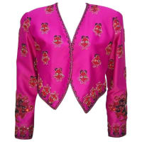 1stdibsFestive Hot Pink 1980s Beaded Cropped Satin Jacket