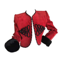 1stdibsGivenchy Couture Red Suede Mink Trim Crop Jacket