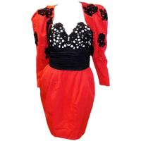 Isabelle Allard ParisVintage Red Black Lace Corset Cocktail Dress With Bolero