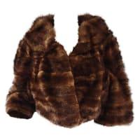 1stdibsLuxurious 1950s 50s Vintage Brown Mink Cropped Chubby 3/4 Sleeve Bolero Jacket