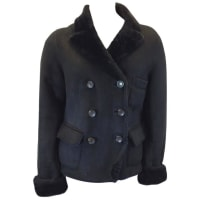 Marc JacobsBlack Shearling Suede Coat