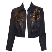 1stdibsMod Vintage 1960s Pierre Balmain Black Mesh Polka Dot Bolero Jacket Tricots