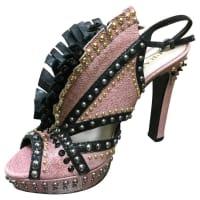 1stdibsPrada Pink And Black Studded Platform Sandals W Leather Fringe At Vamp