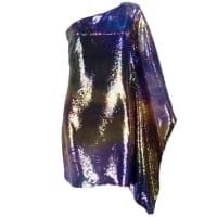 1stdibsUnlabelled 1990s One Shoulder Rainbow Sequin Cocktail Dress