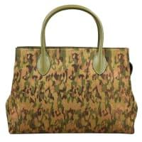 AlaiaVintage Alaia Metallic Green Brown Bronze Canvas Camo Leather Trim Tote Bag