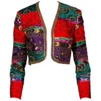 1stdibsVintage Metallic Sequin + Beaded Colorful Silk Bolero Jacket