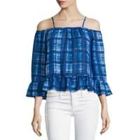 5twelvePlaid-Print Cold-Shoulder Blouse, Blue