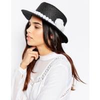7XStraw Hat With Pom Pom Trim - Black/white