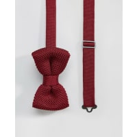 7XKnitted bow Tie Burgandy in Box - Red