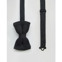 7XKnitted bow Tie Black in Box - Black