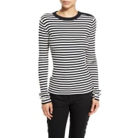 A.L.C.Keenan Ribbed Striped Sweater, Midnight/White