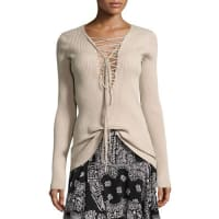 A.L.C.Solana Laced Ribbed Sweater, Whisper