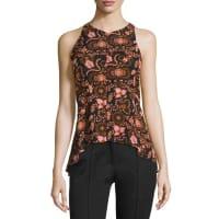 A.L.C.Stuart Sleeveless Floral Silk Top, Henna/Black/Pink