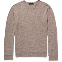 A.P.C.Mélange Cotton And Linen-blend Sweater - Chocolate
